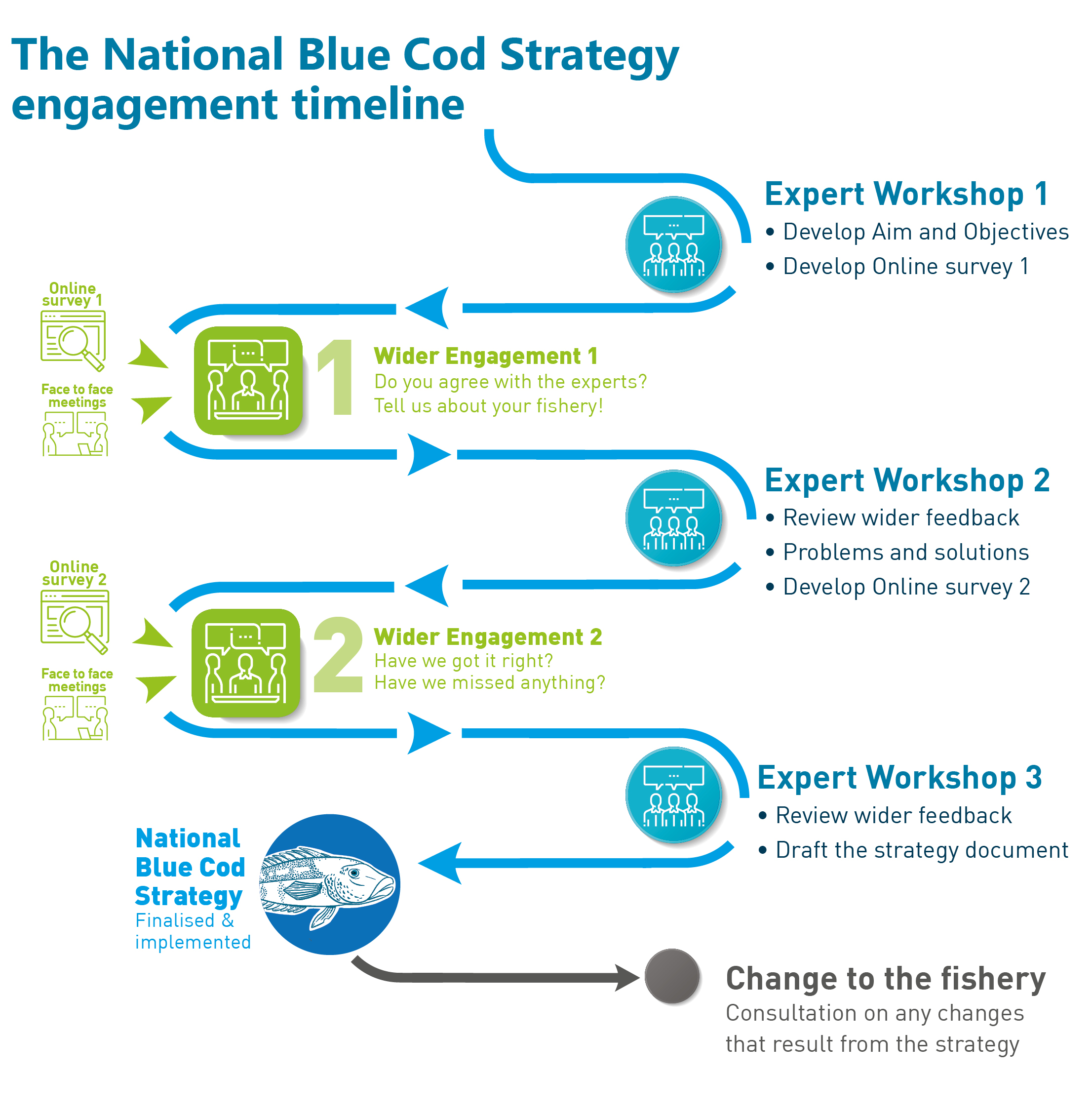 Flow chart with 6 consultation stages (including workshops, meetings and surveys) to guide development of a National Blue Cod Strategy. The current stage is stage 4 – 'Wider engagement 2'
