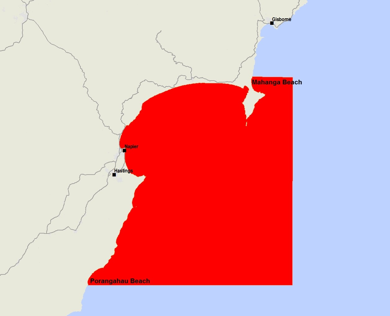Map highlighting in red the areas affected.