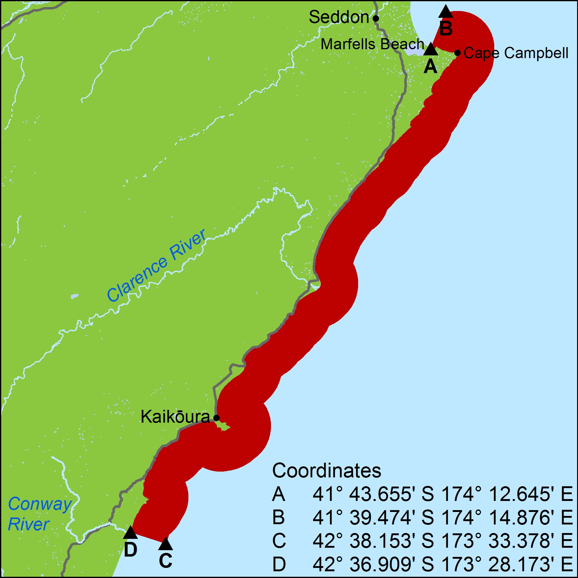November 2016 - Map of closed area from Cape Campbell to Conway River
