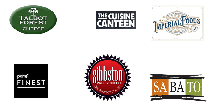 Logos for Talbot Forest cheese, Pams Finest cheese, the Cuisine Canteen cheese, Gibbston Valley cheese, Imperial Foods cheese