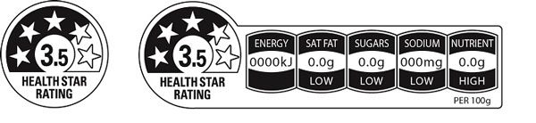 Example labels of a food product with 3.5 health stars