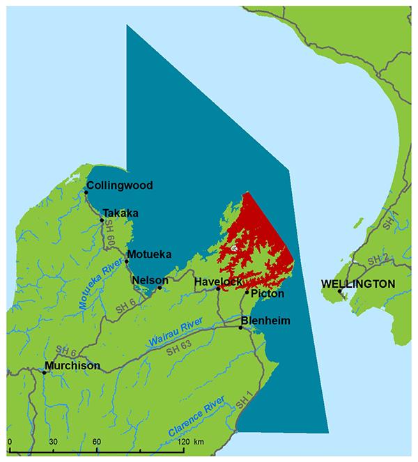 map of Marlborough Sounds for blue cod closure September 2016