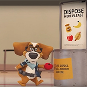 animated beagle dog throwing apple in disposal bin at airport