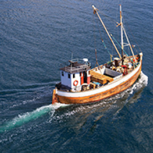 fishing vessel out in the sea cruising