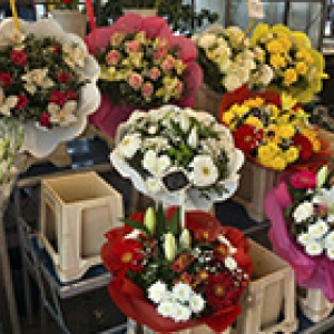 flowers in bunches at a shop