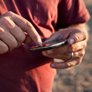 farmers hands holding smartphone