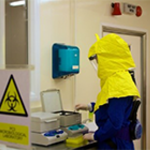 person in biohazard laboratory 200x140