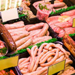 Pork products in butcher's display