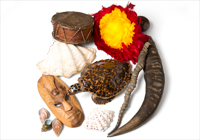 wooden mask, hand drum, tusks, shells